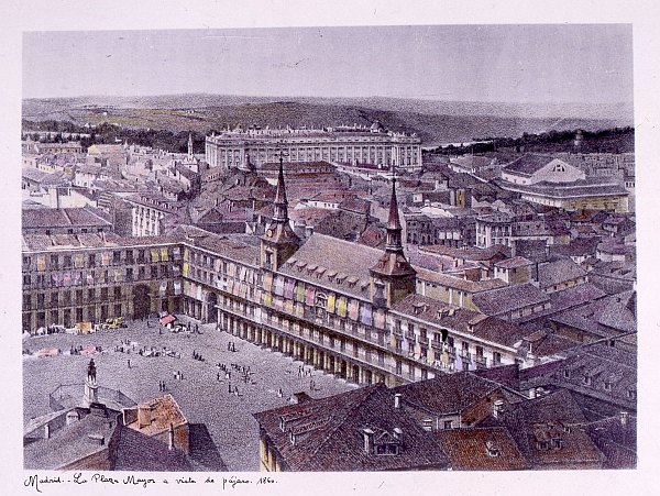 La Plaza Mayor a vista de pájaro. 1860
