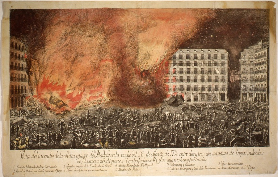 Vista del incendio de la Plaza Mayor, 1790. Madrid