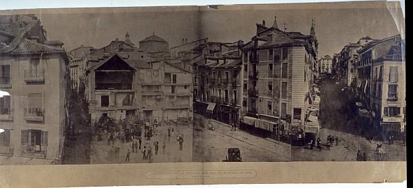 Panorama de la Puerta del Sol de Madrid en 1857 antes de la reforma