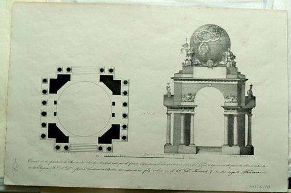Ornato de la fuente de la Puerta del Sol para la solemne entrada de María Cristina de Borbón