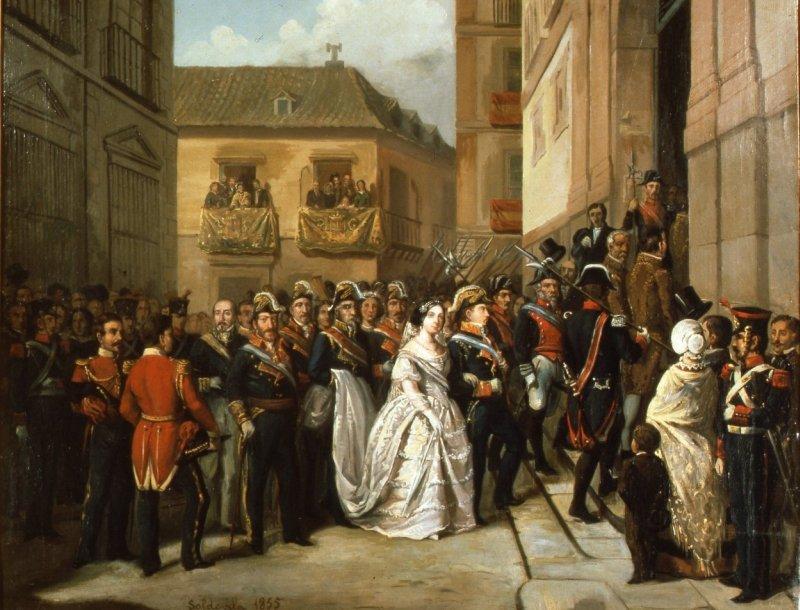 La reina Isabel II y su esposo, visitando el monumento de Jueves Santo en la iglesia de Santa María