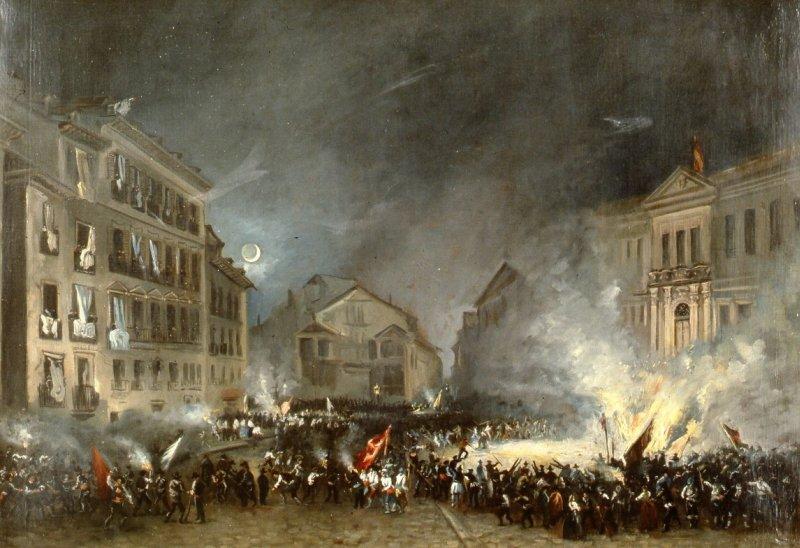 Episodio de la Revolución de 1854 en la Puerta del Sol