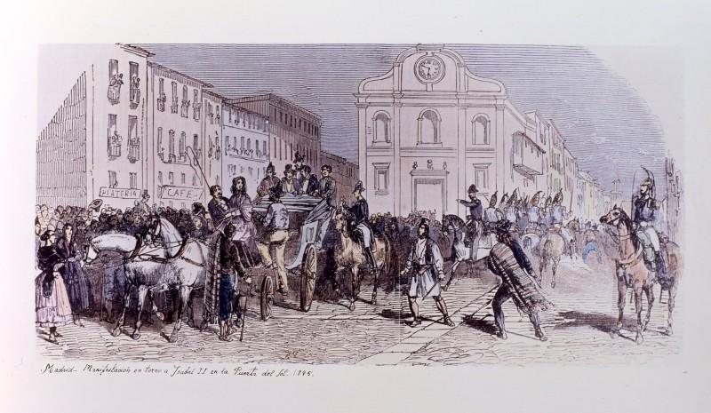 Manifestación en torno a Isabel II en la Puerta del Sol. 1845