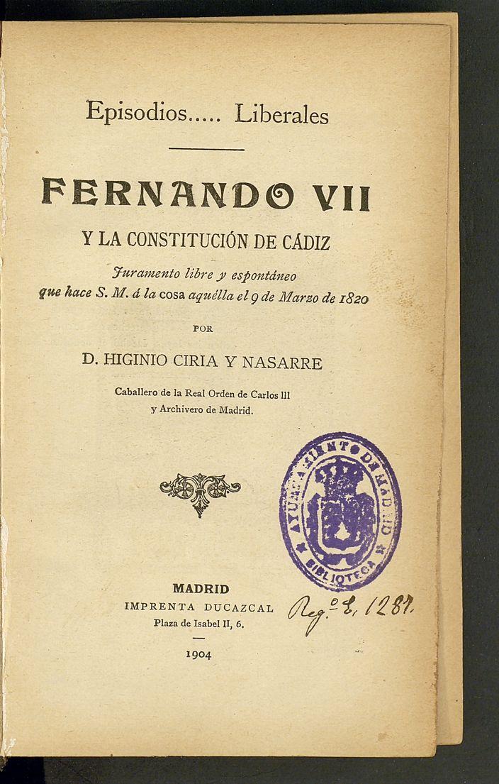 Resultado de imagen de LIBRERÍA DE EL MADRID DE FERNANDO VII (1820)