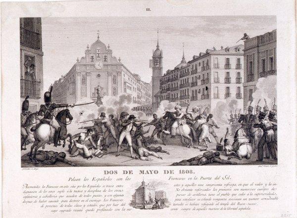Dos de Mayo de 1808. Pelean los españoles con los franceses en la Puerta del Sol