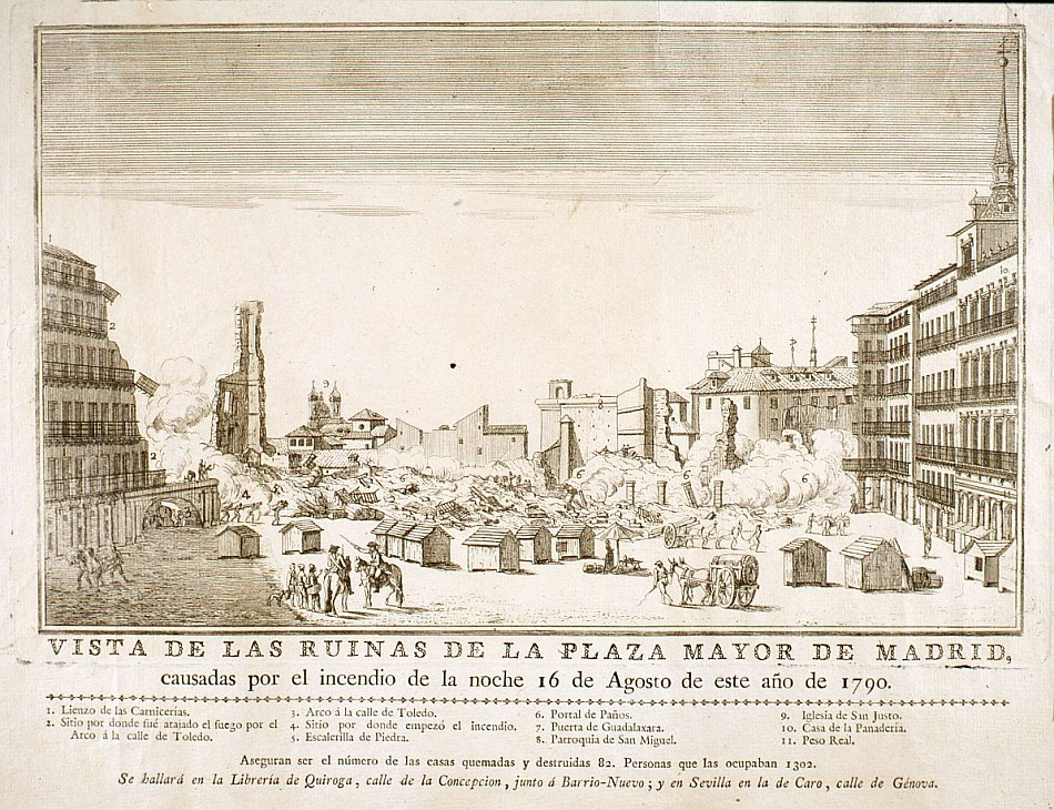 Vista de las ruinas de la Plaza Mayor de Madrid después del incendio de 1790