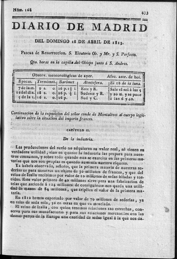 Diario de Madrid Domingo 18 de Abril de 1813