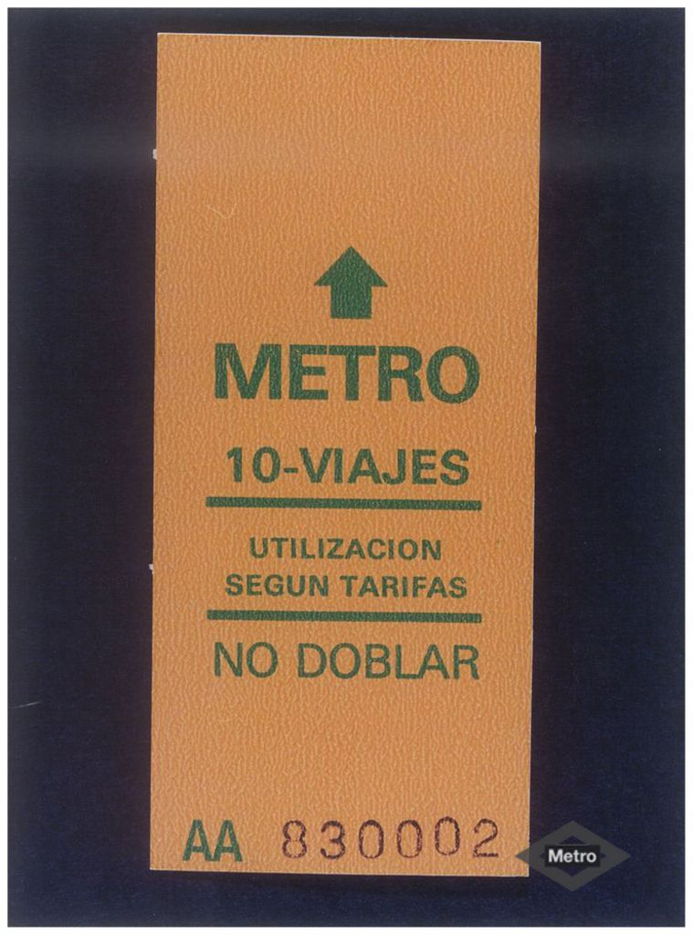 Billete de 10 viajes de Metro de Madrid