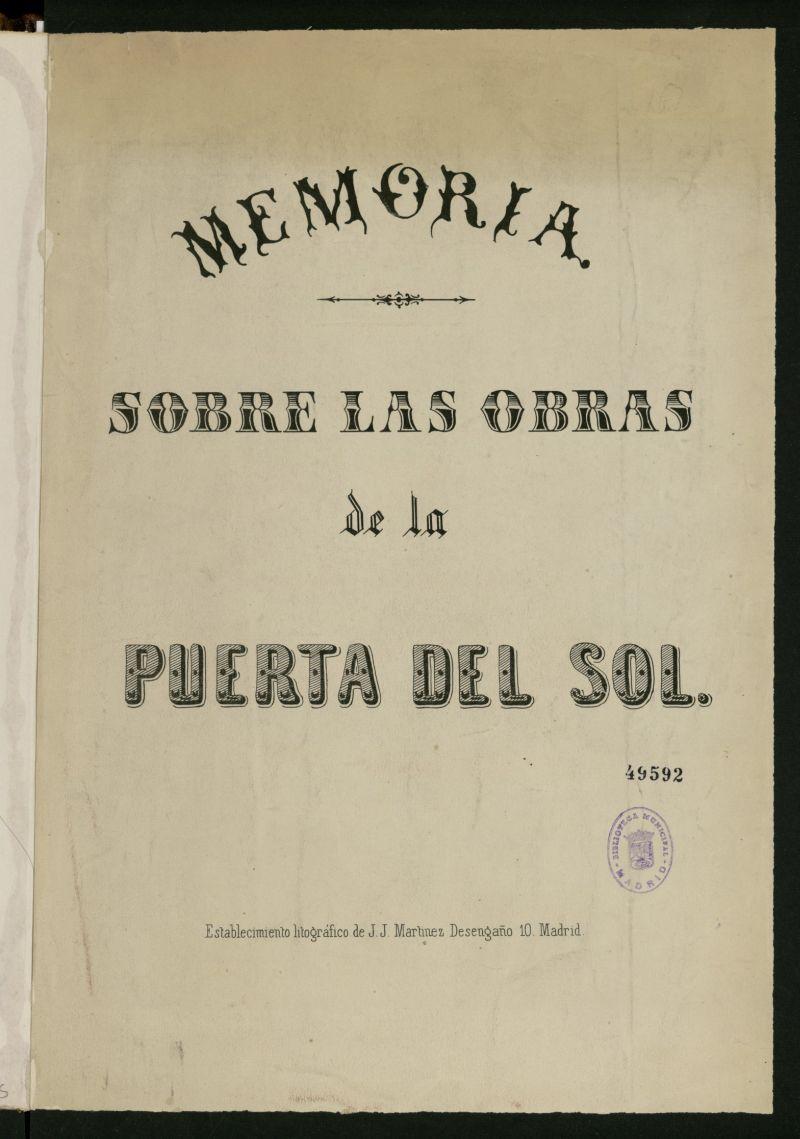 Memoria sobre las obras de la Puerta del Sol.