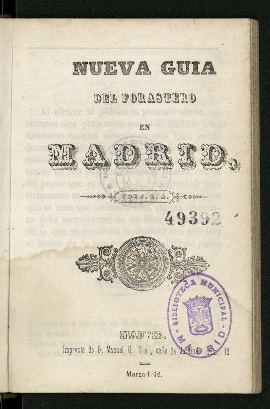 Nueva guía del forastero en Madrid de 1846.