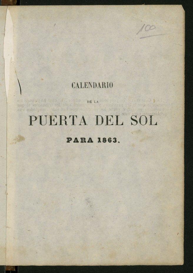 Calendario de la Puerta del Sol para 1863 : año segundo
