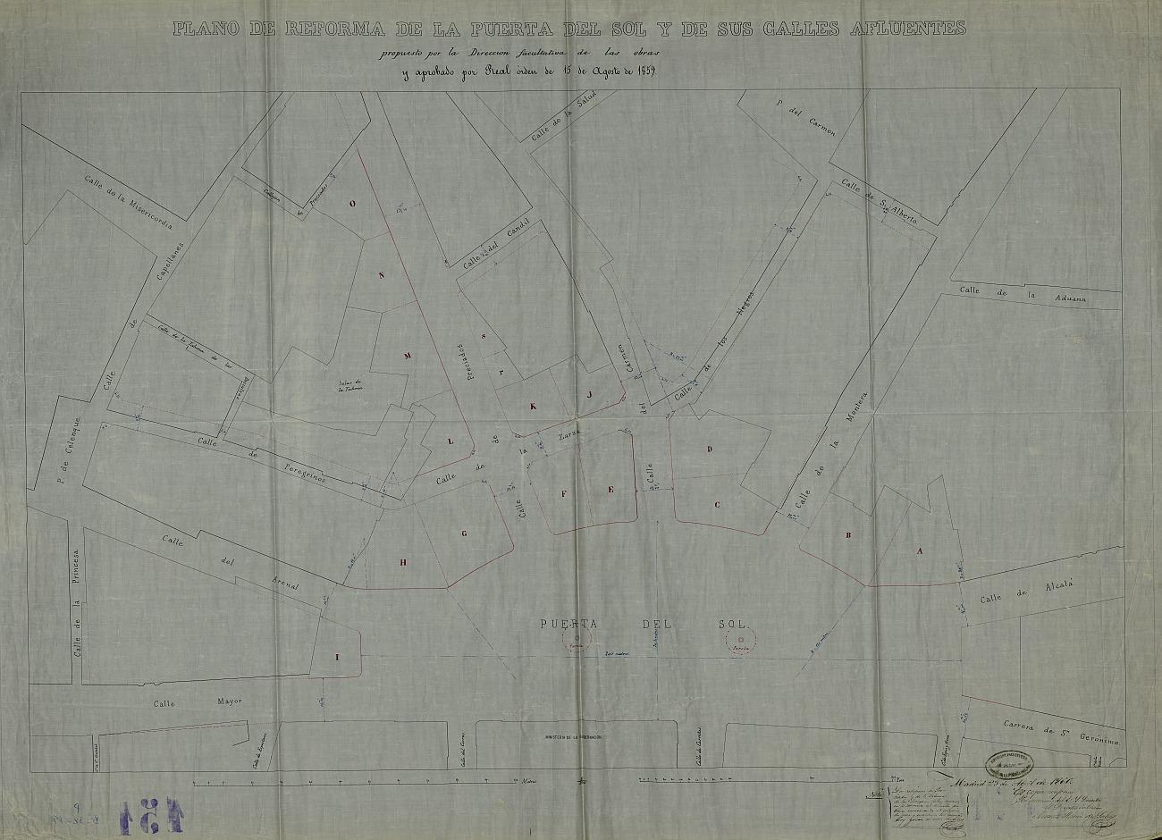 Plano de reforma de la Puerta del Sol y sus calles afluentes propuesto por la Dirección facultativa de las obras y aprobado por Real Orden de 15 de agosto de 1859