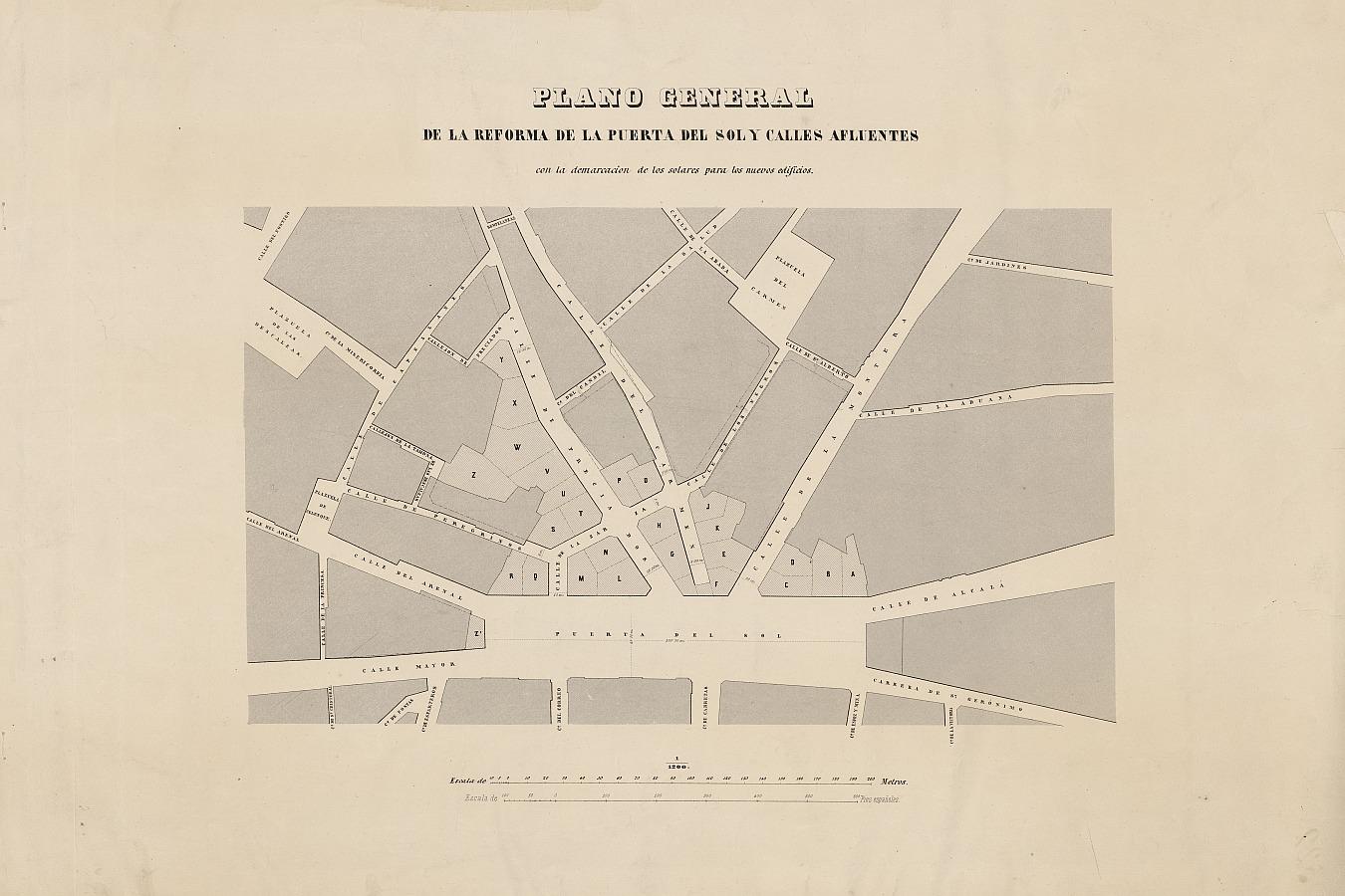 Plano General de la Reforma de la Puerta del Sol y sus calles afluentes Con la demarcación de los solares para los nuevos edificios