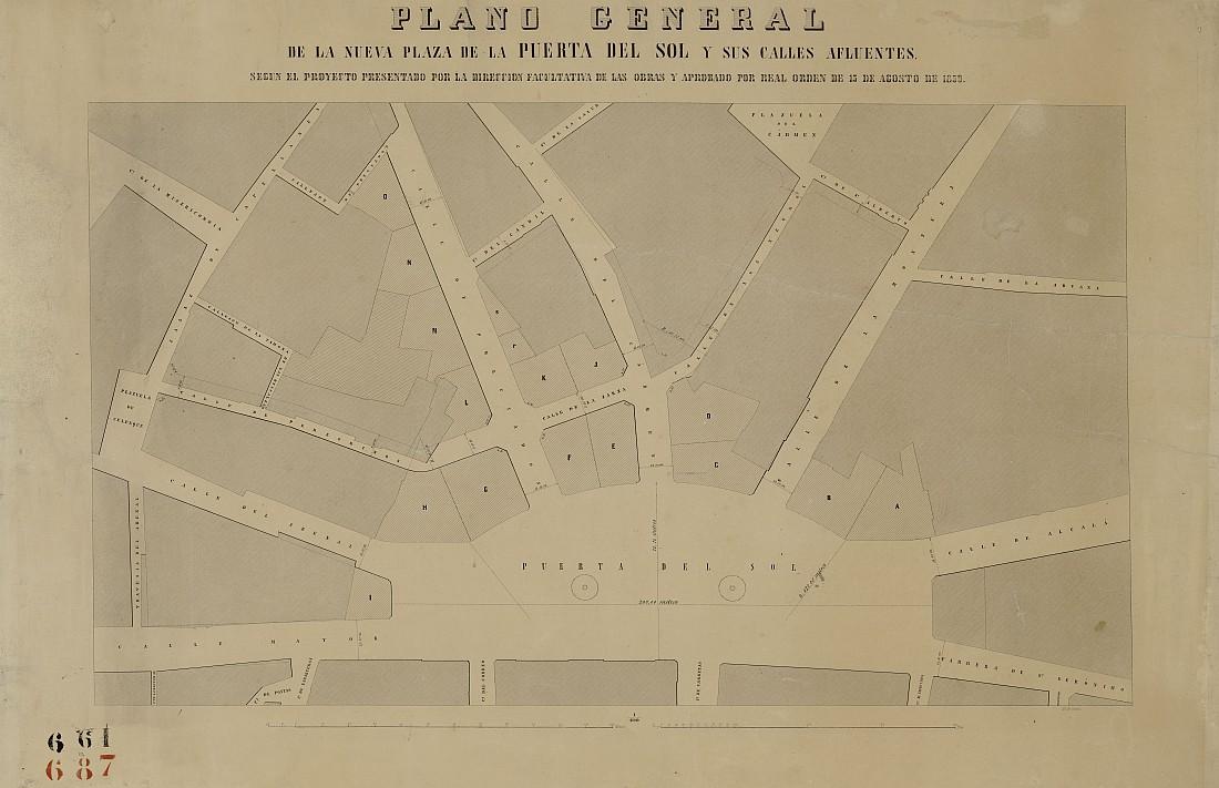 Plano general de la nueva plaza de la Puerta del Sol y sus calles afluentes