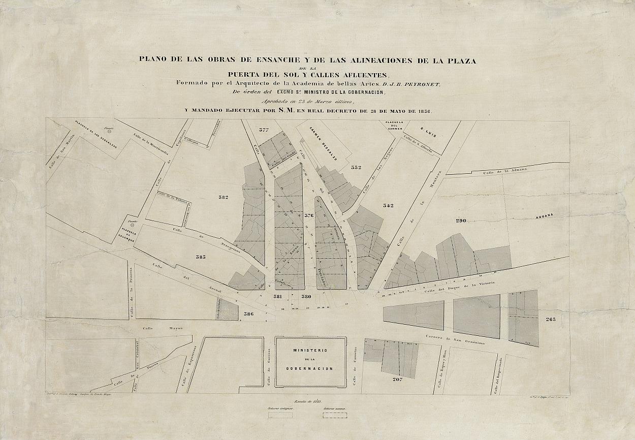 Plano de las obras de ensanche y de la alineaciones de la Plaza de la Puerta del Sol y calles afluentes