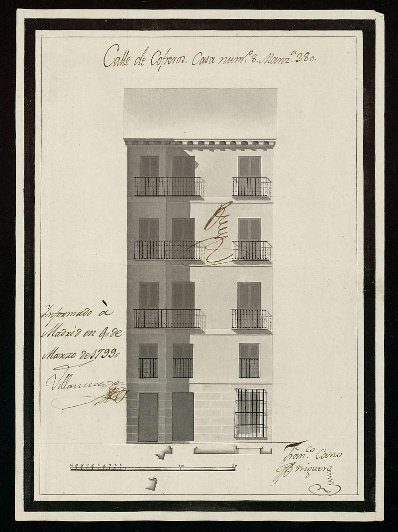 Licencia a Don José Vázquez para la construcción de una casa en la calle de Cofreros nº 8 antiguo, manzana 380