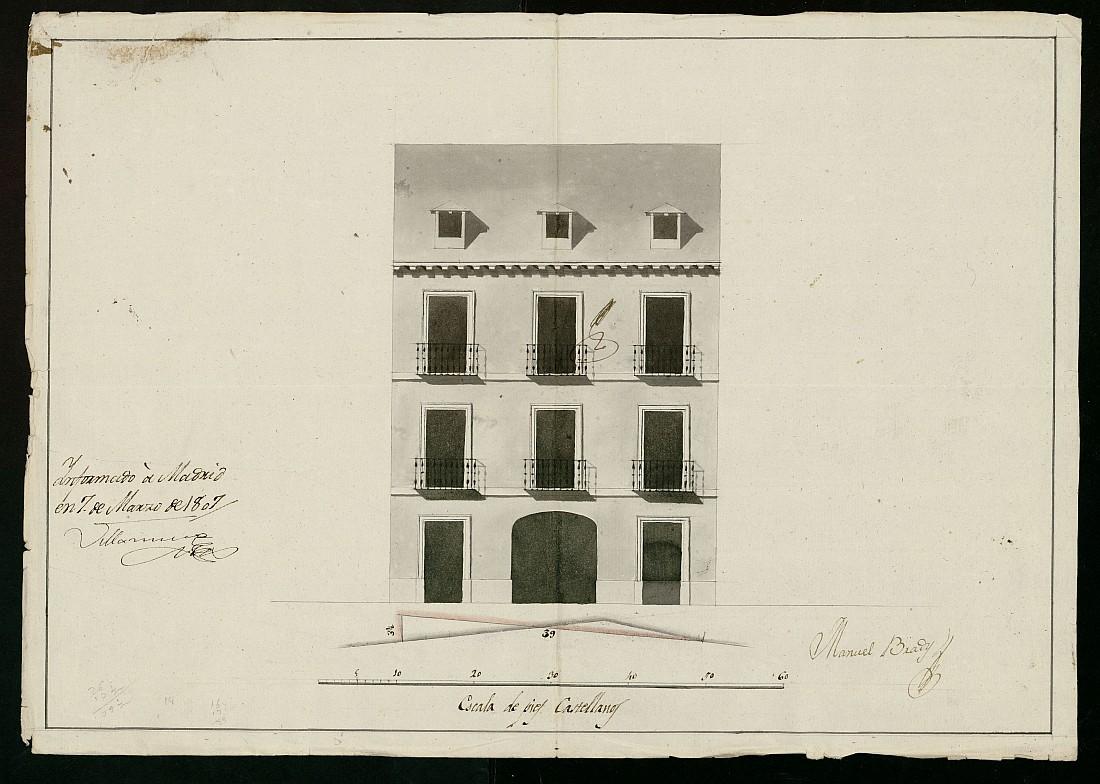 Licencia a Don Antonio García para construir una casa en la calle de Peregrinos nº 14, 15 y 16 antiguos, manzana 382