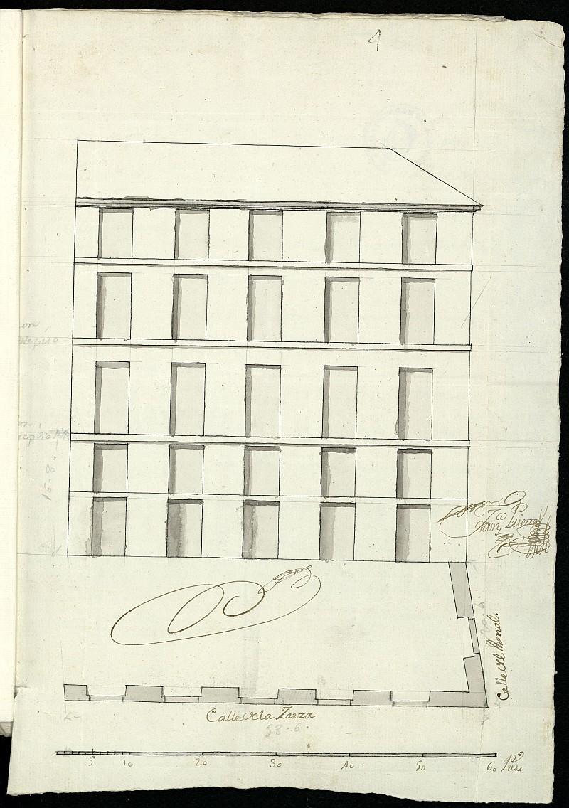 Licencia a Don Joaquín García Caltañazor para reedificar las casas calle de la Zarza esquina a la del Arenal nº 2 manzana 331, y abono de pies de sitio