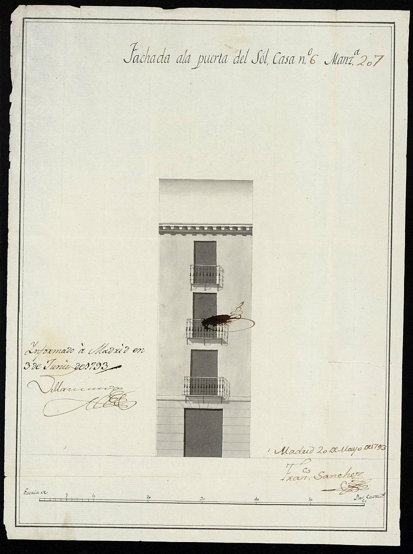 Licencia a Don Francisco Pérez Santallana para construir en la Puerta del Sol nº 6 manzana 207