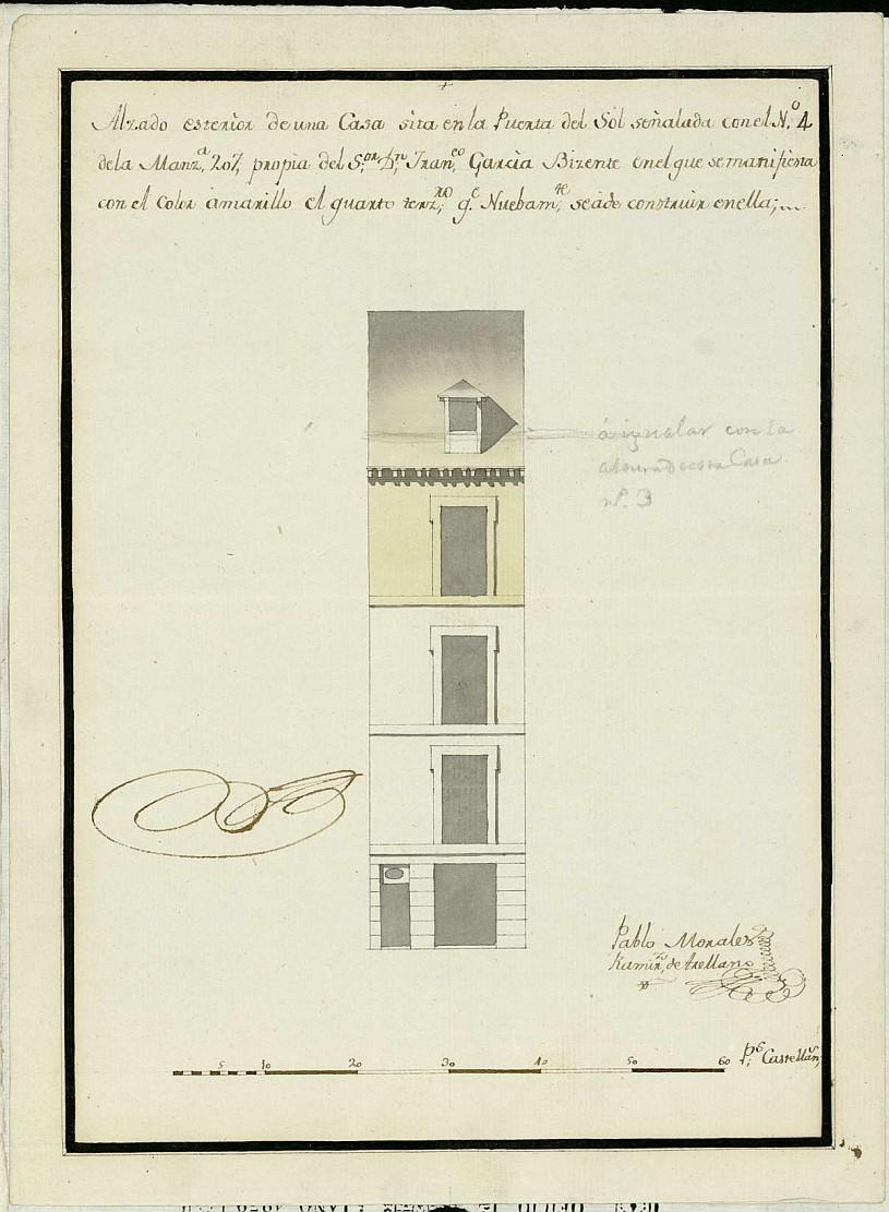 Licencia a Don Francisco García Vicente para alzar piso 3º en el nº 4 manzana 207 en la plaza de la Puerta del Sol