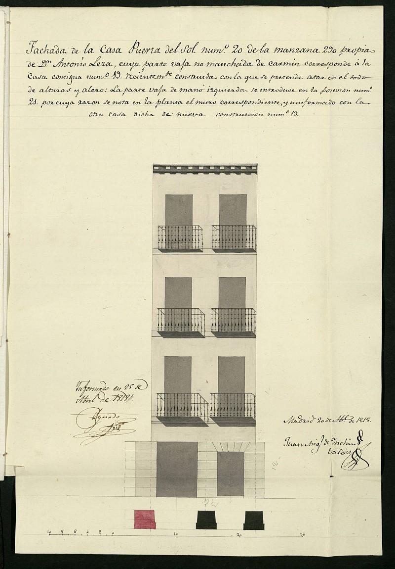 Licencia a Don Antonio Leza para la construcción de la fachada de la casa en la Puerta del Sol nº 20 manzana 290