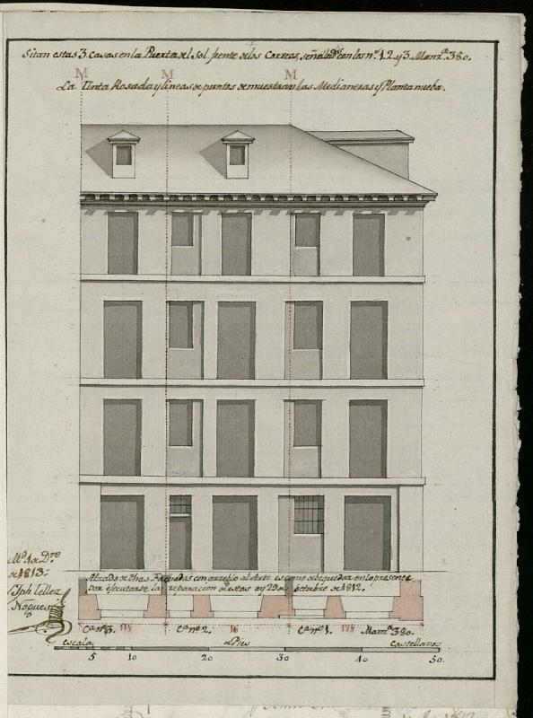 Licencia a Don Benito Martínez para reedificar la fachada de la casa en la Puerta del Sol nº 3 antiguo, manzana 380