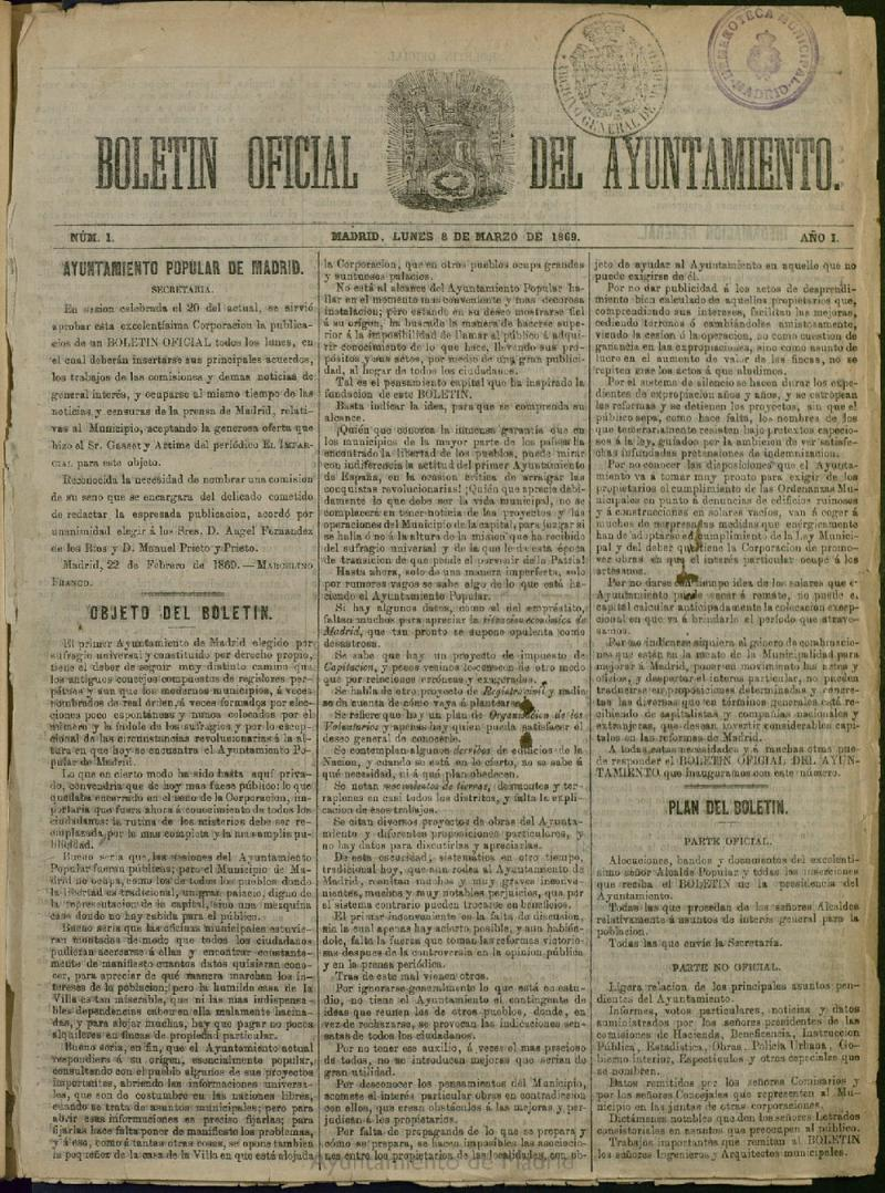 La primera etapa del Boletín (1869-1872)