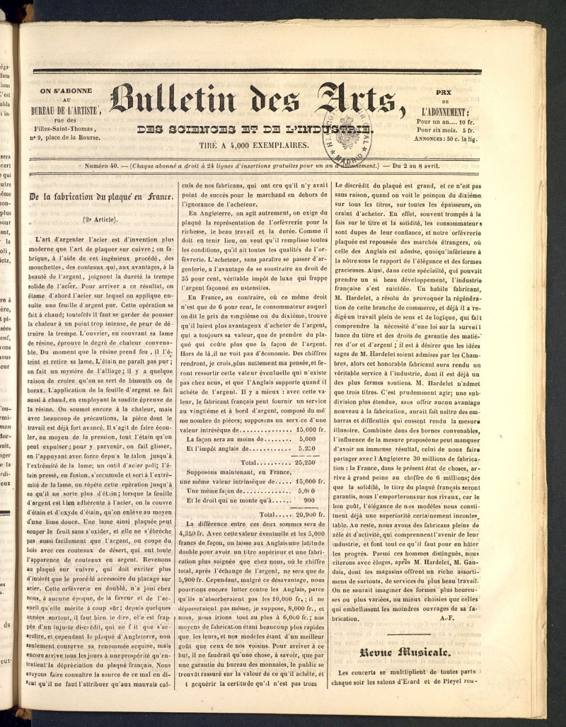 Bulletin des Arts, des Science et de l´Industrie del 2 de abril de 1838, nº 40