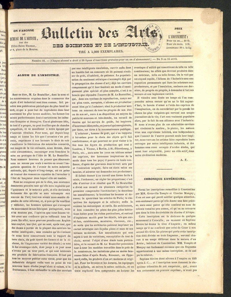 Bulletin des Arts, des Science et de l´Industrie del 9 de abril de 1838, nº 41