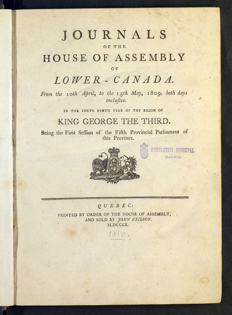 Journals of the House of Assembly of Lower