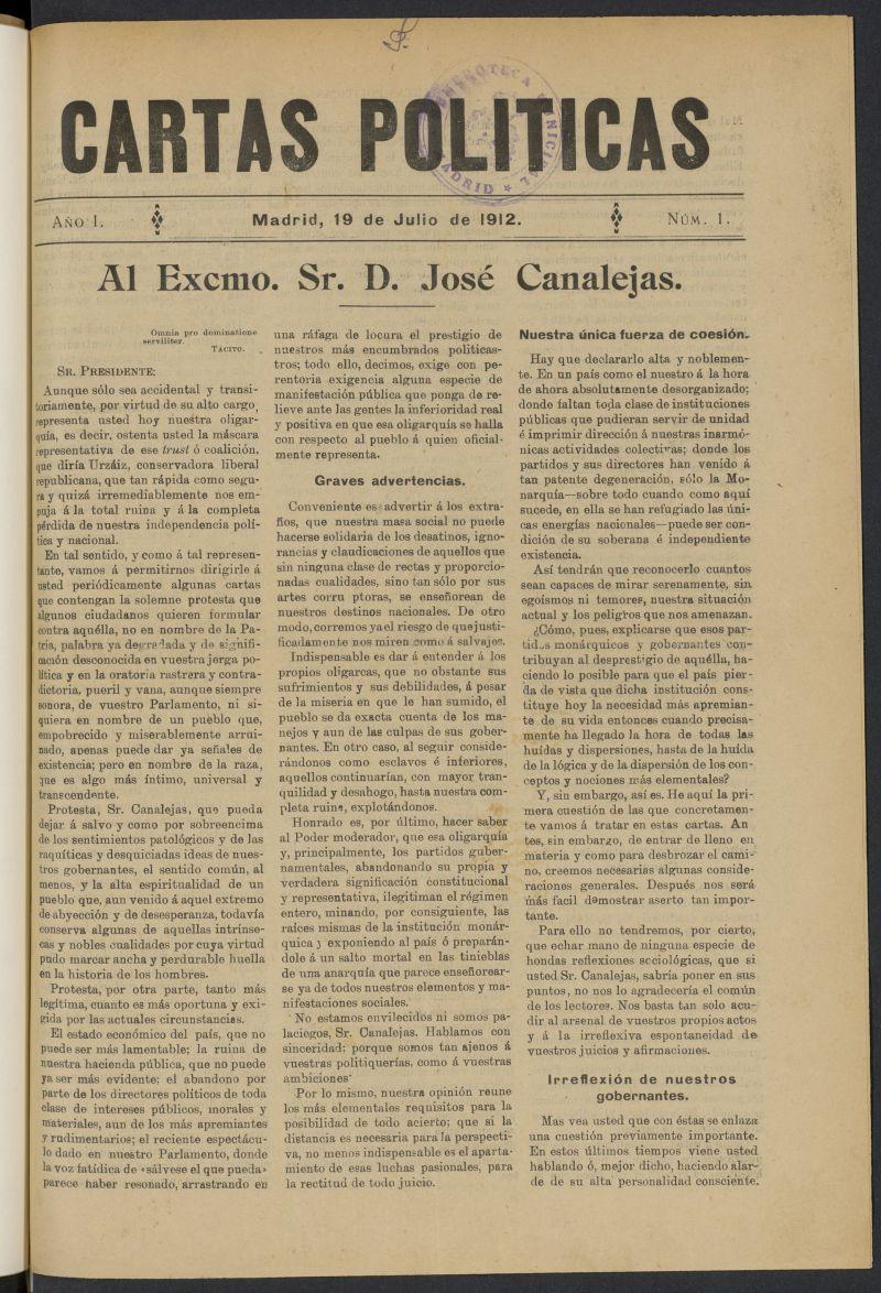 Cartas Políticas (Madrid. 1912)